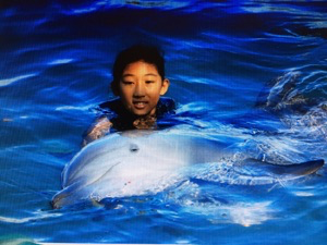 Cynthia with Dolphin