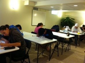 A Group of our SAT Students Taking a Practice Test before the October Exam